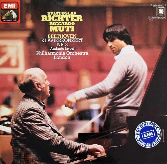 リヒテル&ムーティのベートーヴェン/ピアノ協奏曲第3番ほか 独EMI 3128 LP レコード