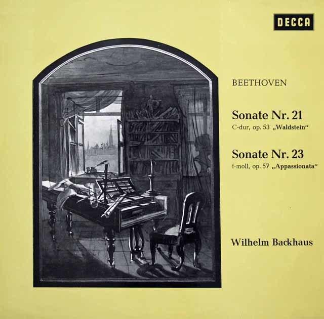 バックハウスのベートーヴェン/ピアノソナタ「ワルトシュタイン」&「熱情」 独DECCA 3128 LP レコード