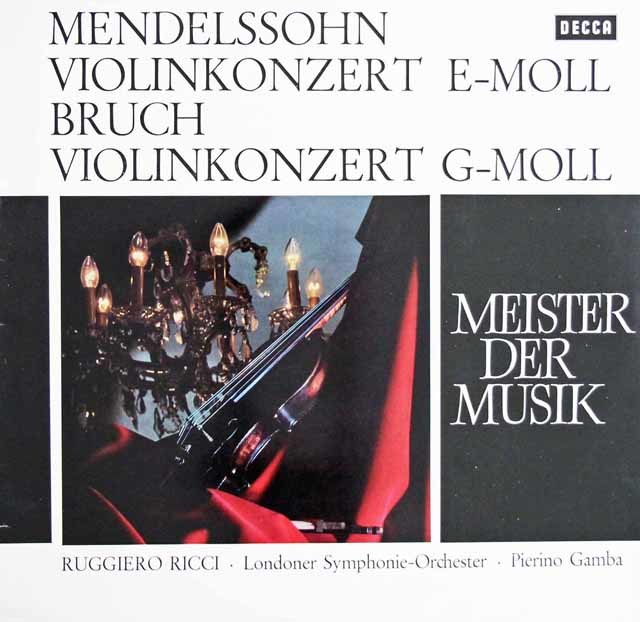 リッチ&ガンバのメンデルスゾーン&ブルッフ/ヴァイオリン協奏曲集 独DECCA 3129 LP レコード