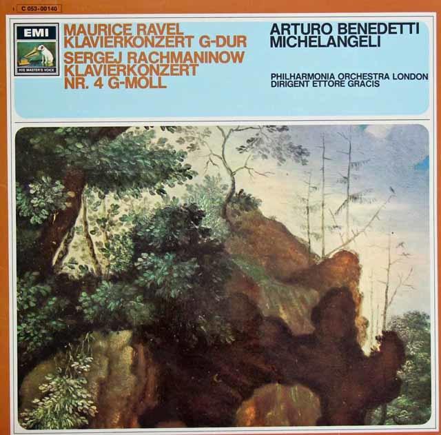 ミケランジェリのラヴェル&ラフマニノフ/ピアノ協奏曲 独EMI 3129 LP レコード