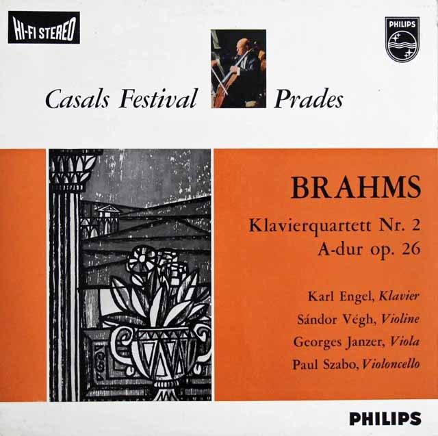 エンゲル、ヴェーグらのブラームス/ピアノ四重奏曲第2番 蘭PHILIPS 3129 LP レコード