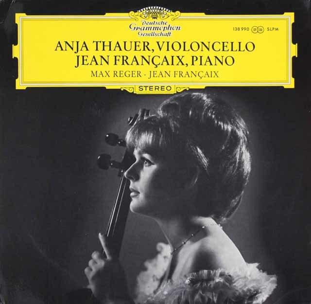 タウアー&フランセのレーガー/無伴奏チェロ組曲第3番ほか 独DGG 3129 LP レコード