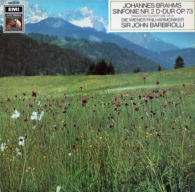 【独最初期盤】 バルビローリのブラームス/交響曲第2番ほか 独EMI 3130 LP レコード