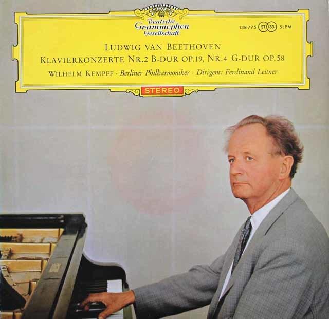 【赤ステレオ/オリジナル盤】ケンプ&ライトナーのベートーヴェン/ピアノ協奏曲第2&4番 独DGG 3130 LP レコード