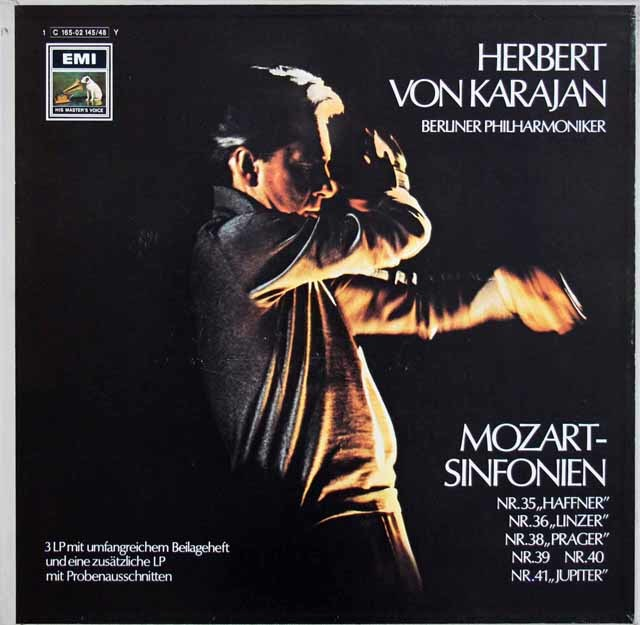 カラヤンのモーツァルト/後期交響曲集 独EMI 3130 LP レコード