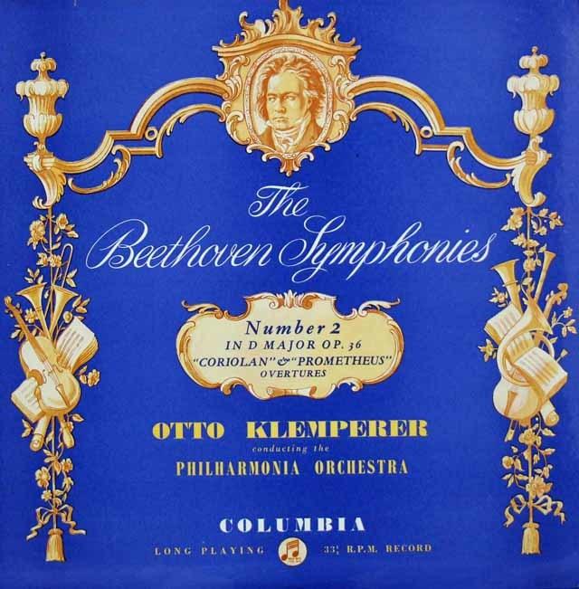 クレンペラーのベートーヴェン/交響曲第2番ほか 英Columbia 3131 LP レコード