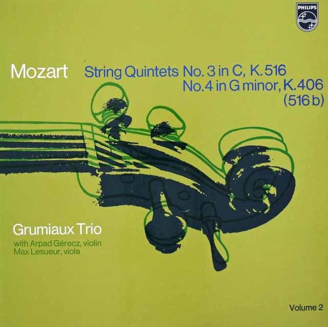 グリュミオー・トリオらのモーツァルト/弦楽五重奏曲第3&4番  蘭PHILIPS 3131 LP レコード