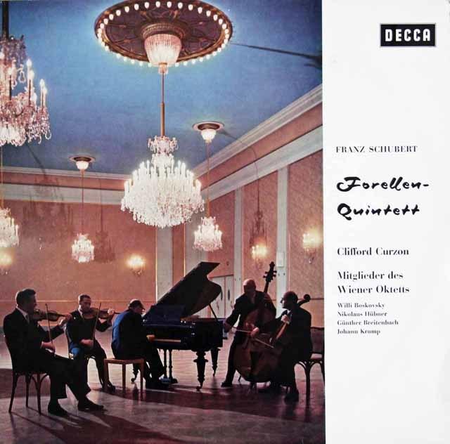 カーゾン&ウィーンオクテットらのシューベルト/ピアノ五重奏曲「鱒」 独DECCA 3131 LP レコード