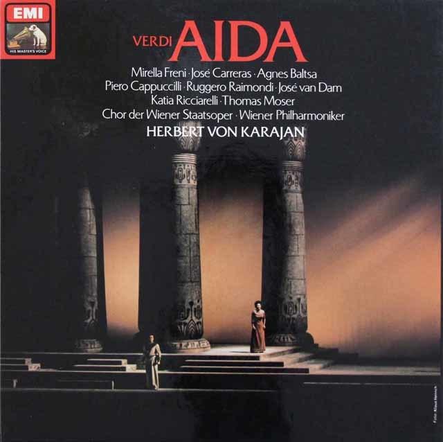 カラヤン&フレーニのヴェルディ/「アイーダ」全曲 独EMI 3131 LP レコード