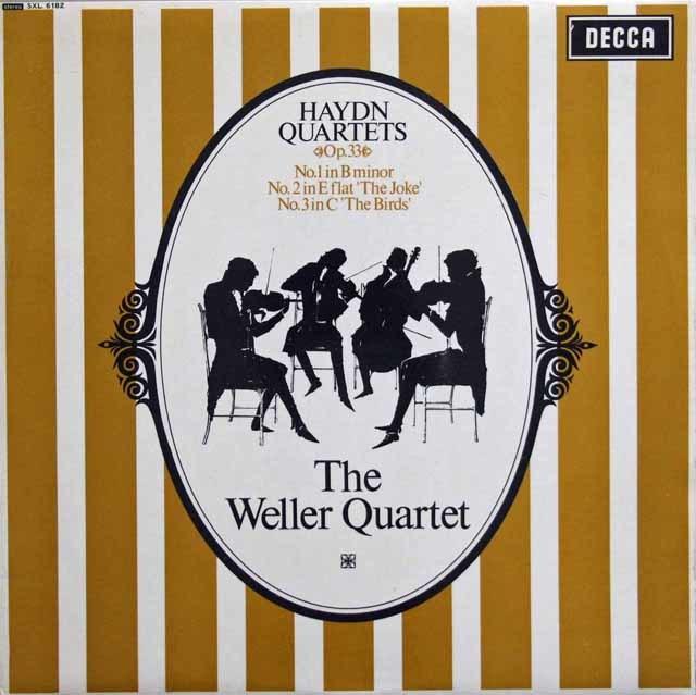 ウェラー四重奏団のハイドン/弦楽四重奏曲「冗談」「鳥」 英DECCA 3132 LP レコード