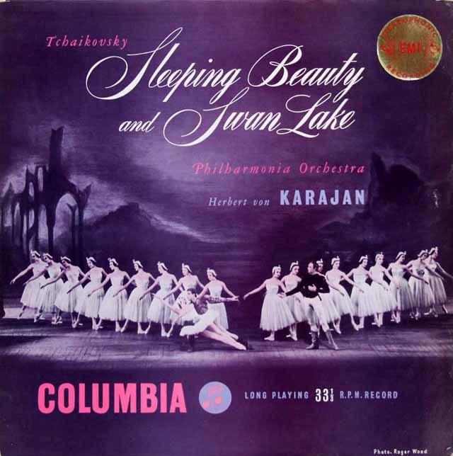 【オリジナル盤】 カラヤンのチャイコフスキー/バレエ組曲「眠りの森の美女」、「白鳥の湖」 英Columbia 3132 LP レコード