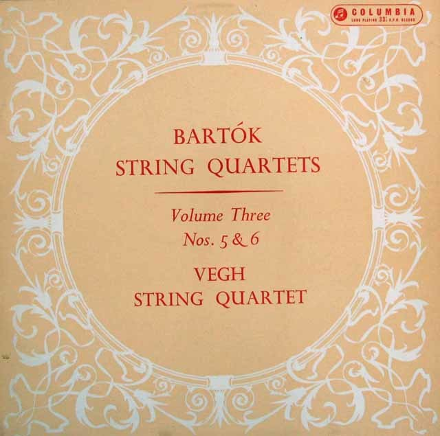 【オリジナル盤】 ヴェーグ四重奏団のバルトーク/弦楽四重奏曲第5&6番  英Columbia 3132 LP レコード