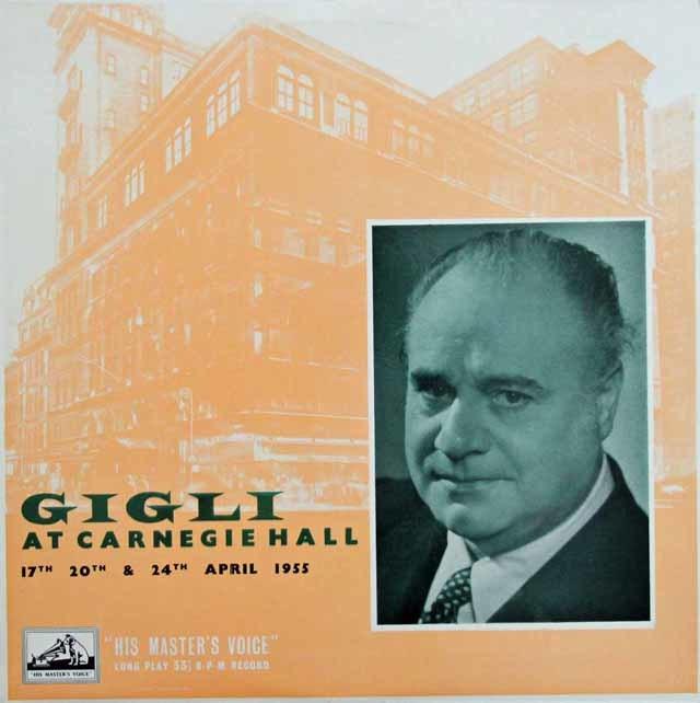 カーネギーホールのジーリ 1955年 英EMI 3132 LP レコード