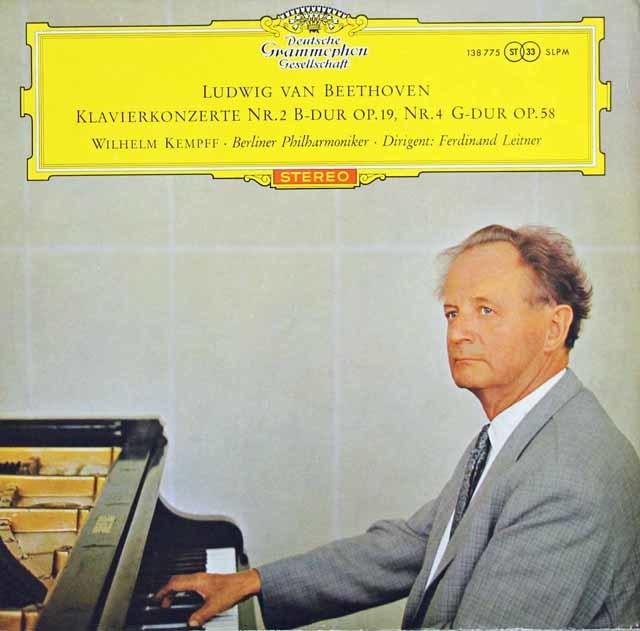 【赤ステレオ/ドイツ最初期盤】 ケンプ&ライトナーのベートーヴェン/ピアノ協奏曲第2&4番 独DGG 3132 LP レコード