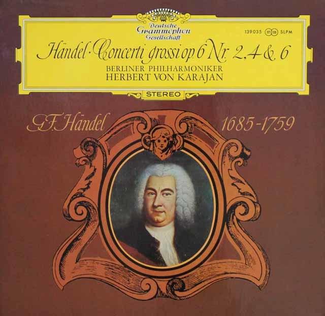 カラヤンのヘンデル/合奏協奏曲作品6より第2,4&6番 独DGG 3132 LP レコード