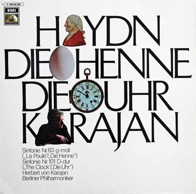 カラヤンのハイドン/交響曲第83番「めんどり」、第101番「時計」 独EMI 3132 LP レコード