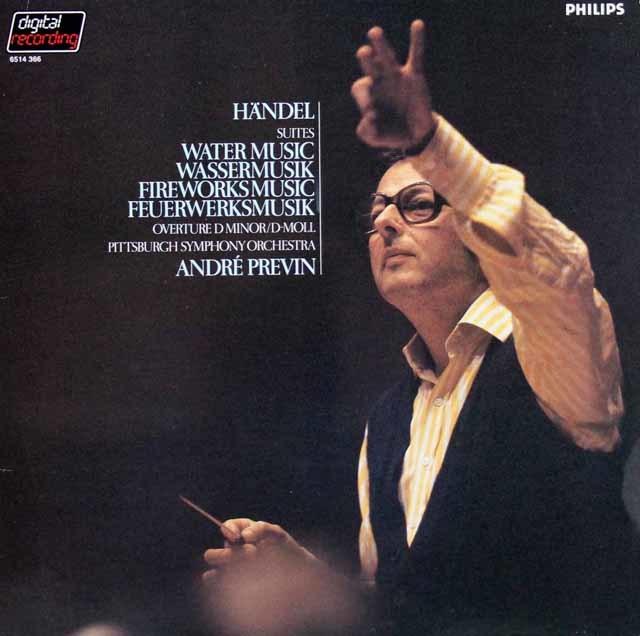 プレヴィンのヘンデル/「水上の音楽」&「王宮の花火の音楽」ほか 蘭PHILIPS 3132 LP レコード