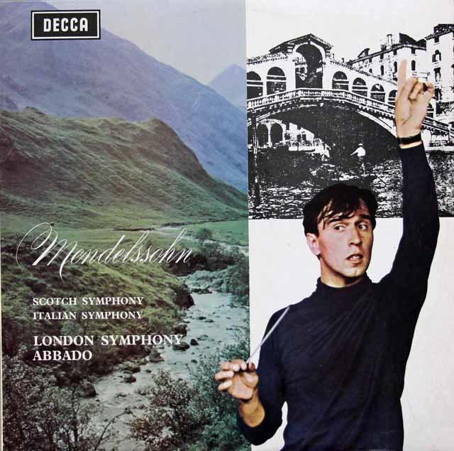 アバドのメンデルスゾーン/交響曲第3番「スコットランド」& 第4番「イタリア」 英DECCA 3133 LP レコード