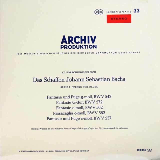 ヴァルヒャのバッハ/幻想曲とフーガ ト短調ほか 独ARCHIV 3133 LP レコード