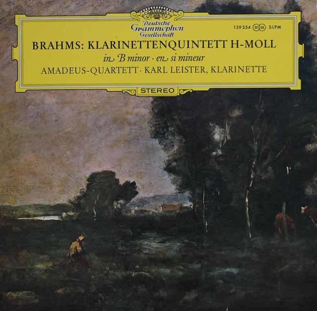 アマデウス四重奏団&ライスターのブラームス/クラリネット五重奏曲 独DGG 3133 LP レコード