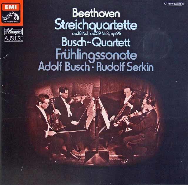 ブッシュ四重奏団のベートーヴェン/弦楽四重奏曲第1、9&11番ほか 独EMI 3133 LP レコード