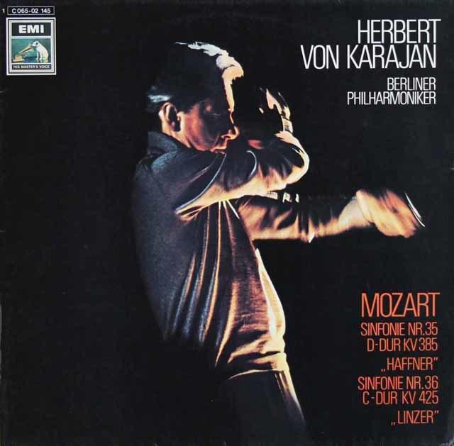 カラヤンのモーツァルト/交響曲第35番「ハフナー」 & 36番「リンツ」 独EMI 3133 LP レコード
