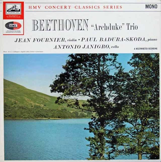 パドゥラ=スコダ、ジャン・フルニエ、ヤニグロのベートーヴェン/ピアノ三重奏曲第7番「大公」 英EMI 3133 LP レコード