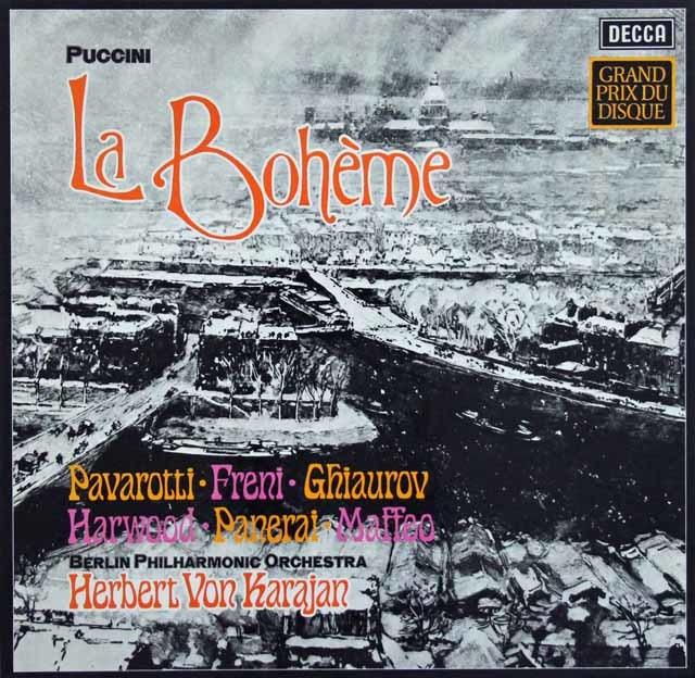 カラヤンのプッチーニ/「ボエーム」全曲  独DECCA 3133 LP レコード