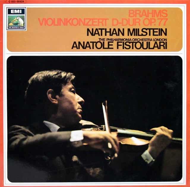 ミルシュタイン&フィストラーリのブラームス/ヴァイオリン協奏曲 独EMI 3135 LP レコード
