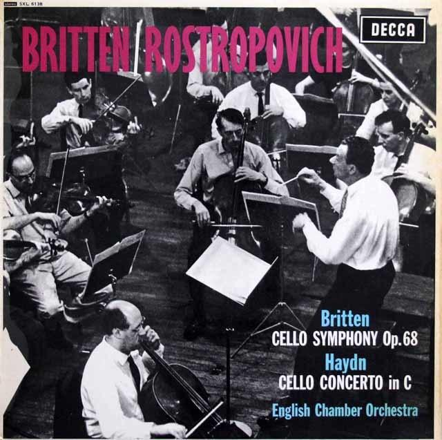 ロストロポーヴィチのブリテン&ハイドン/チェロ協奏曲 英DECCA 3136 LP レコード