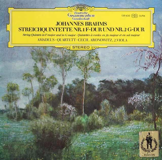 アマデウス四重奏団&アロノヴィッツのブラームス/弦楽五重奏曲第1&2番 独DGG 3136 LP レコード