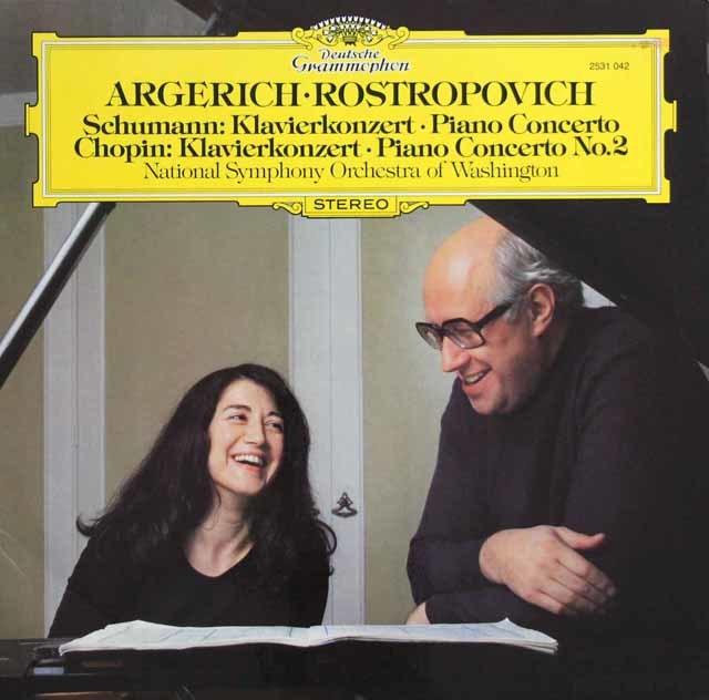 アルゲリッチ&ロストロポーヴィチのシューマン&ショパン/ピアノ協奏曲集 独DGG 3136 LP レコード