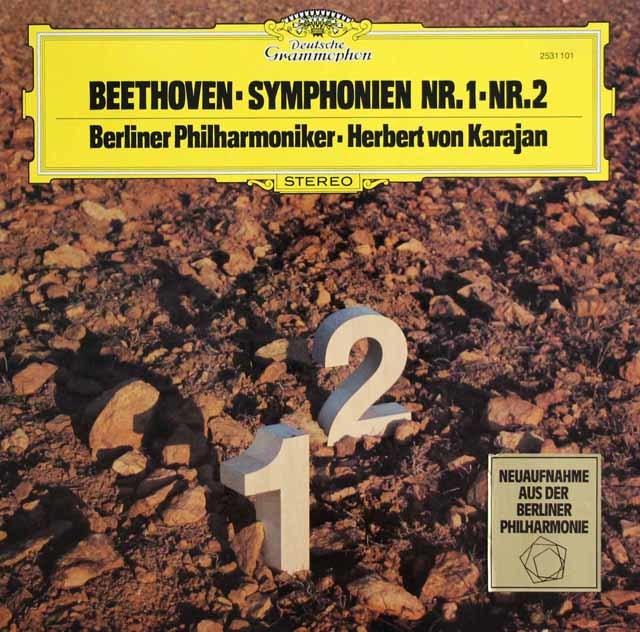 カラヤンのベートーヴェン/交響曲第1 & 2番 独DGG 3137 LP レコード