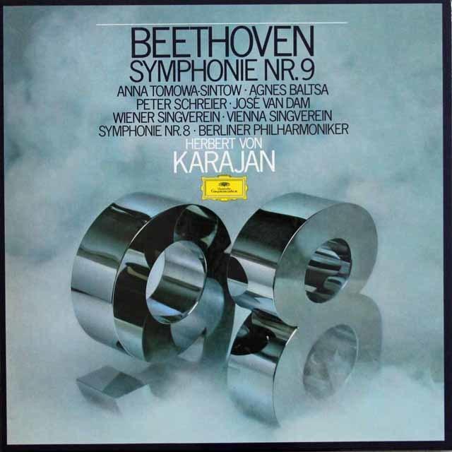 カラヤンのベートーヴェン/交響曲第8番&第9番「合唱付き」  独DGG 3137 LP レコード