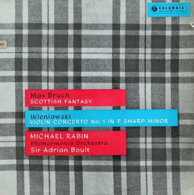 【オリジナル盤】レビン&ボールトのブルッフ/スコットランド幻想曲ほか 英Columbia 3137 LP レコード