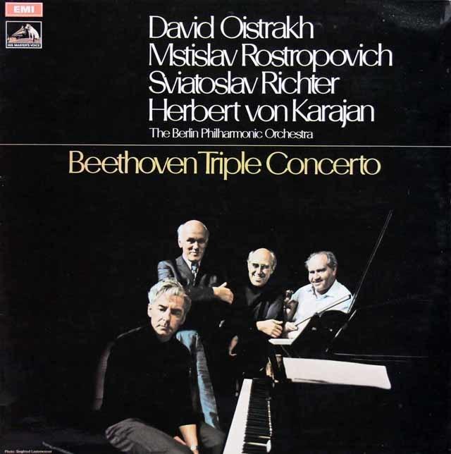【オリジナル盤】オイストラフ、ロストロポーヴィチ、リヒテル&カラヤンのベートーヴェン/三重協奏曲 英EMI 3137 LP レコード