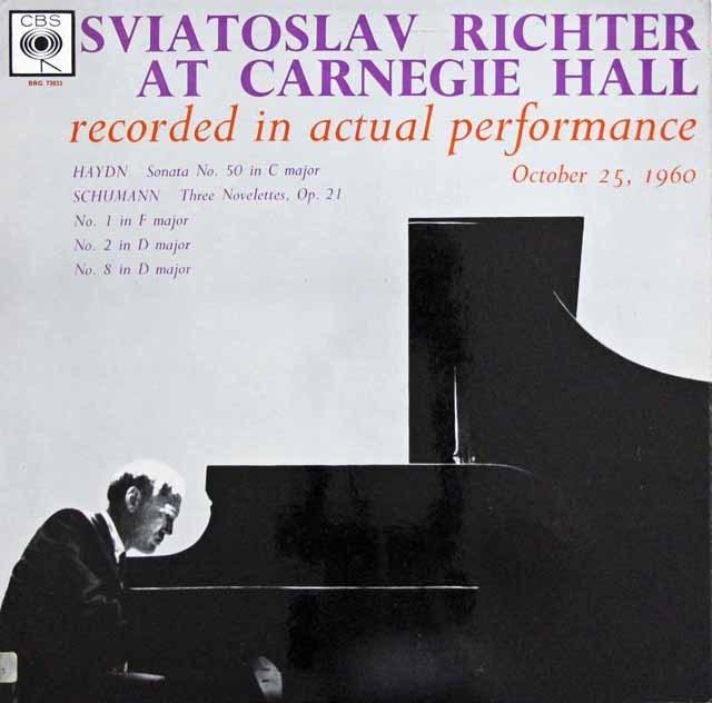 リヒテルのカーネギーホール・リサイタル、ハイドン&シューマン 英CBS 3137 LP レコード
