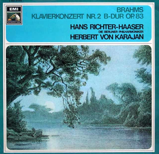 リヒター=ハーザー&カラヤンのブラームス/ピアノ協奏曲第2番 独EMI 3137 LP レコード
