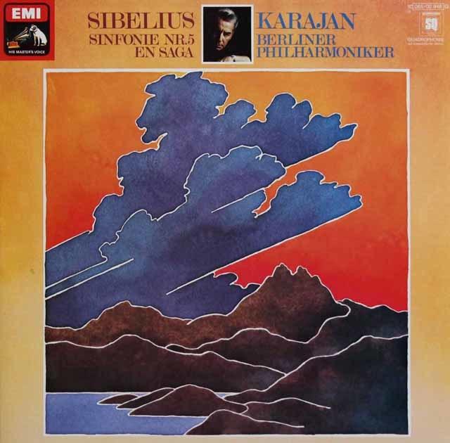カラヤンのシベリウス/交響曲第5番&「エン・サガ」 独EMI 3137 LP レコード