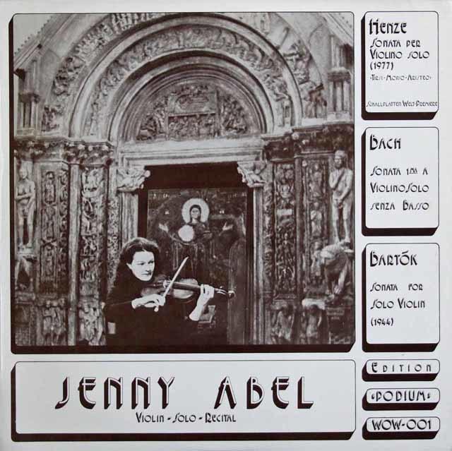アベルのバッハ、ヘンツェ&バルトーク/無伴奏ヴァイオリンソナタ集 独PODIUM 3137 LP レコード