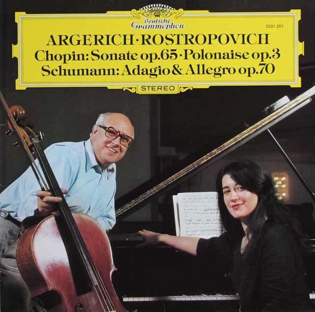 アルゲリッチ&ロストロポーヴィチのショパン/チェロソナタほか 独DGG 3138 LP レコード