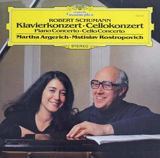 アルゲリッチ&ロストロポーヴィチのシューマン/ピアノ協奏曲&チェロ協奏曲 独DGG 3138 LP レコード
