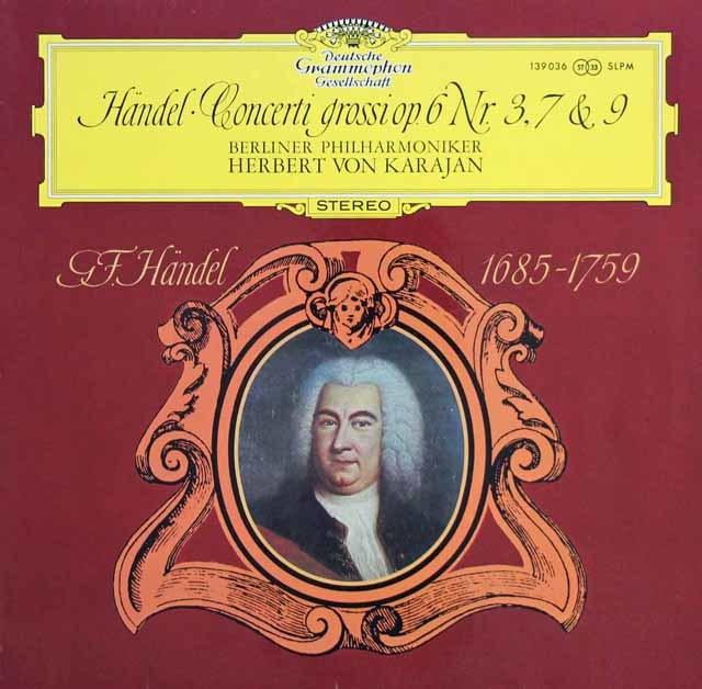カラヤンのヘンデル/合奏協奏曲 作品6-3・7&9 独DGG 3138 LP レコード