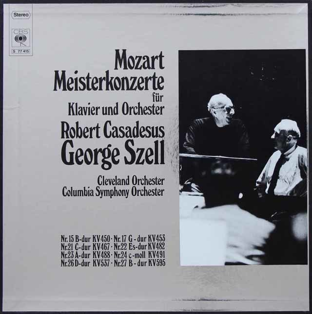 カサドシュ&セルのモーツァルト/ピアノ協奏曲集 独CBS 3138 LP レコード