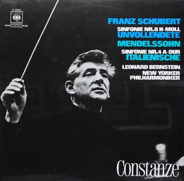 バーンスタインのシューベルト&メンデルスゾーン/「未完成」&「イタリア」  独CBS 3139 LP レコード