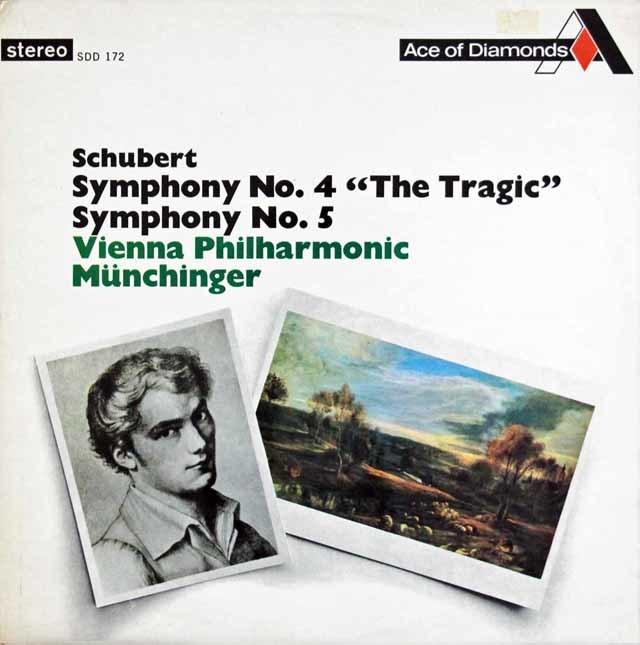 ミュンヒンガーのシューベルト/交響曲第4番「悲劇的」&第5番 英Ace of Diamonds (DECCA) 3139 LP レコード