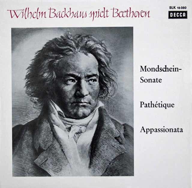 バックハウスのベートーヴェン/ピアノソナタ「月光」、「悲愴」&「熱情」 独DECCA 3139 LP レコード