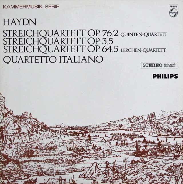 イタリア四重奏団のハイドン/弦楽四重奏曲第67番「ひばり」&76番「五度」 蘭PHILIPS 3140 LP レコード