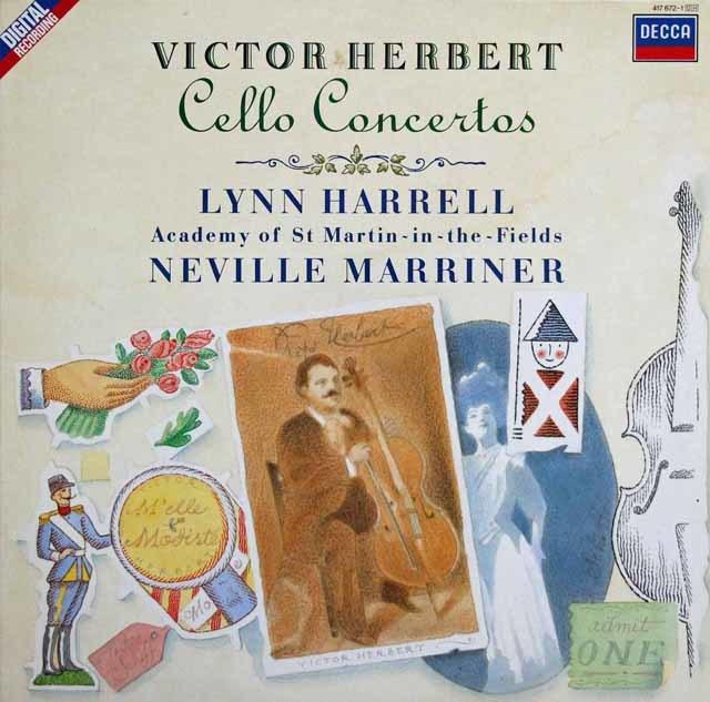 ハレル&マリナーのハーバート/チェロ協奏曲第1、2番ほか 蘭DECCA 3140 LP レコード