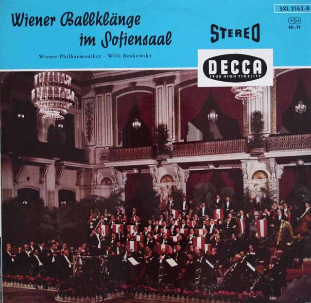 【独最初期盤】 ボスコフスキー、ゾフィエンザールのウィーン舞踏会  独DECCA 3140 LP レコード